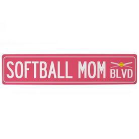 "Softball Aluminum Room Sign - Softball Mom Blvd (4""x18"")"