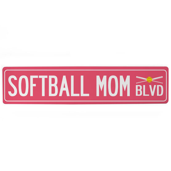 "Softball Aluminum Room Sign - Softball Mom Blvd (4""x18"")"