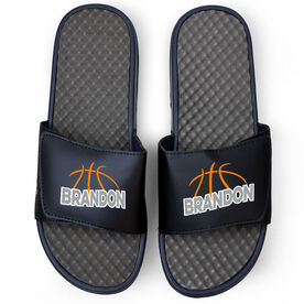 Basketball Navy Slide Sandals - Basketball Lines with Name