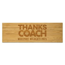 "Baseball 12.5"" X 4"" Engraved Bamboo Removable Wall Tile - Thanks Coach"