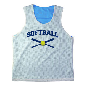 Girls Softball Racerback Pinnie Personalized Softball with Crossed Bats Navy
