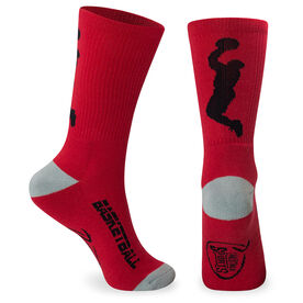 Basketball Woven Mid-Calf Socks - Player (Red/Gray)
