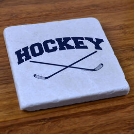 Hockey Crossed Sticks - Stone Coaster