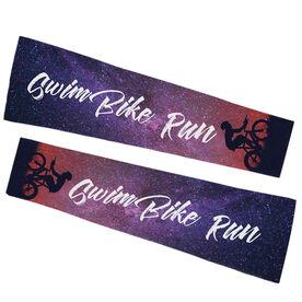 Triathlon Printed Arm Sleeves - Swim Bike Run Words
