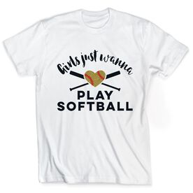 Softball Tshirt Short Sleeve Girls Just Wanna Play Softball with Glitter