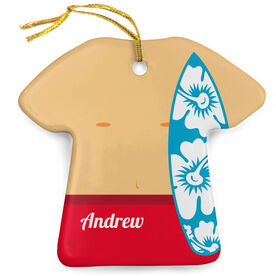 Personalized Porcelain Ornament - Surfer Guy Outfit