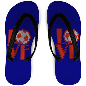 Soccer Flip Flops Love