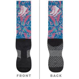 Figure Skating Printed Mid-Calf Socks - Floral Skates
