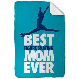 Figure Skating Sherpa Fleece Blanket - Best Mom Ever