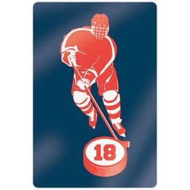 "Hockey 18"" X 12"" Aluminum Room Sign - Personalized Skater with Puck"