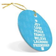 Guys Lacrosse Porcelain Ornament Joy Peace Lacrosse
