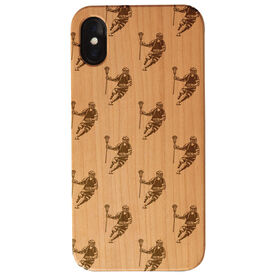 Guys Lacrosse Engraved Wood IPhone® Case - Player Pattern