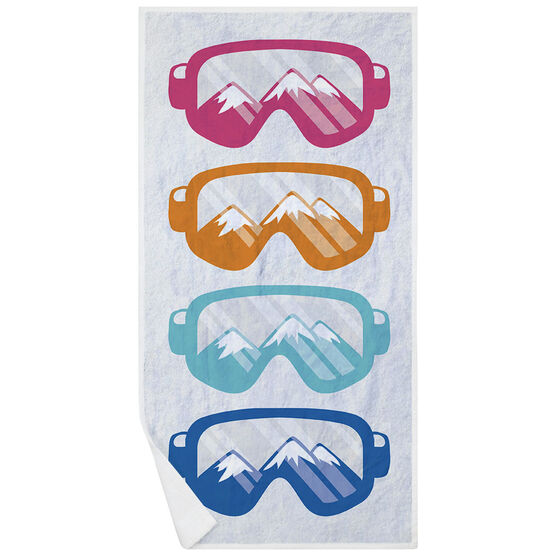 Skiing & Snowboarding Premium Beach Towel - Multicolored Snow Goggles
