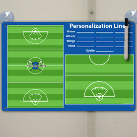 "Lacrosse Custom Dry Erase Coach Board Girls Full And Half Field With Roster - 18"" X 12"""