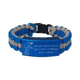 Wrestling Paracord Engraved Bracelet - 3 Lines/Blue