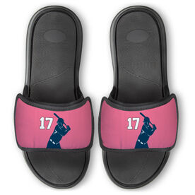 Softball Repwell® Slide Sandals - Batter Silhouette with Number