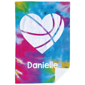 Basketball Premium Blanket - Personalized Tie-Dye Pattern With Heart