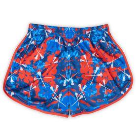 Confetti Girls Lacrosse Shorts - Red/Blue