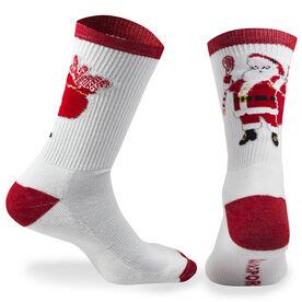 Lacrosse Woven Mid Calf Socks - Santa (White/Red)