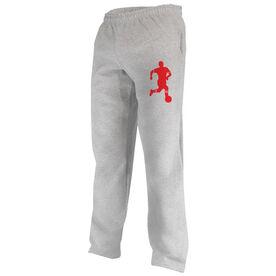 Soccer Fleece Sweatpants Soccer Player Silhouette Guy