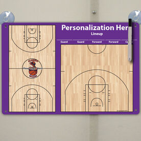 "Basketball Custom Dry Erase Coach Board Full And Half Court With Lineup - 18"" X 12"""