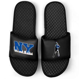 Baseball Black Slide Sandals - NY Baseball