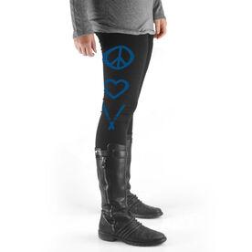 Skiing High Print Leggings Peace Love Ski