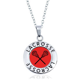 Lacrosse Circle Necklace - Team Crossed Sticks