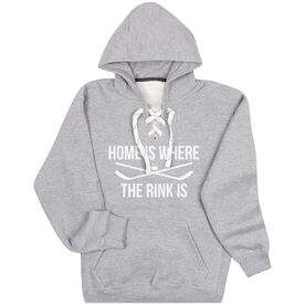 Hockey Sport Lace Sweatshirt - Home Is Where The Rink Is