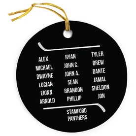 Hockey Porcelain Ornament Personalized Team Roster