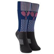 Tennis Printed Mid-Calf Socks - Crossed Rackets with Pattern