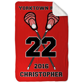 Guys Lacrosse Sherpa Fleece Blanket Personalized Crossed Sticks Team