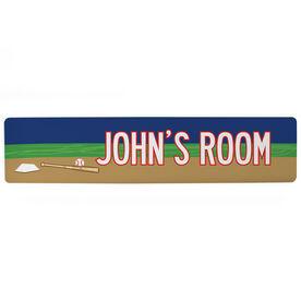 "Baseball Aluminum Room Sign - Personalized Baseball Room (4""x18"")"