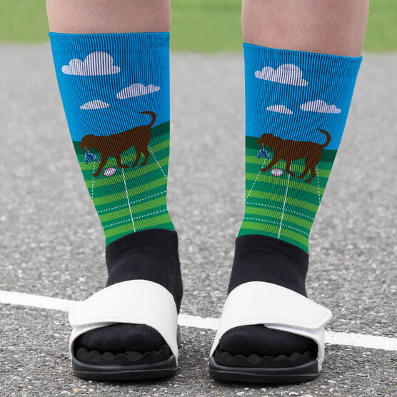 Rugby Printed Mid-Calf Socks - Ray The Rugby Dog