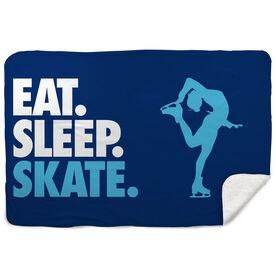 Figure Skating Sherpa Fleece Blanket - Eat. Sleep. Skate. Horizontal