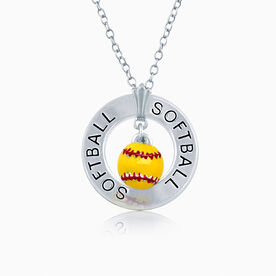 Softball Message Ring and Softball Charm Necklace
