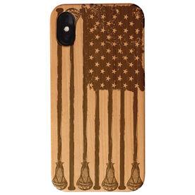 Guys Lacrosse Engraved Wood IPhone® Case - American Flag