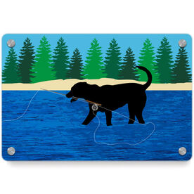Fly Fishing Metal Wall Art Panel - Flynn The Fly Fishing Dog