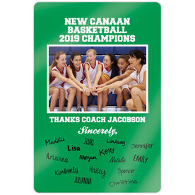 "Basketball 18"" X 12"" Aluminum Room Sign - Personalized Thanks Coach Team Photo with Signatures"