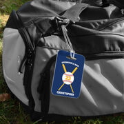Baseball Bag/Luggage Tag - Personalized Baseball Team with Crossed Bat