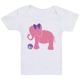 Cheerleading Baby T-Shirt - Cheerleading Elephant with Bow