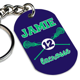 Girls Lacrosse Printed Dog Tag Keychain Crossed Girls Lacrosse Sticks