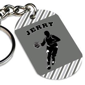 Basketball Printed Dog Tag Keychain Personalized Basketball Player Guy