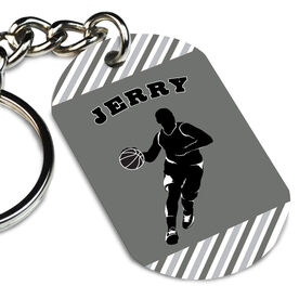 Basketball Printed Dog Tag Keychain Personalized Basketball Player Guy