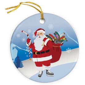 Hockey Porcelain Ornament Santa