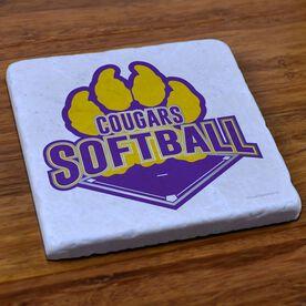 Softball Stone Coaster Custom Softball Logo with Team Name