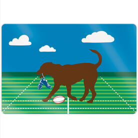 """Rugby 18"""" X 12"""" Aluminum Room Sign - Ray The Rugby Dog"""