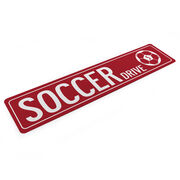 """Soccer Aluminum Room Sign - Soccer Drive With Ball And Number (4""""x18"""")"""