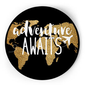 Personalized Circle Plaque - Adventure Awaits Globe