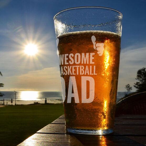 16 oz. Beer Pint Glass Awesome Basketball Dad